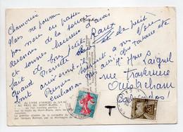 - Carte Postale CHAMONIX Pour OUISTREHAM (Calvados) 9.7.1962 - TAXÉE 20 C. Brun-olive Type Gerbes - - 1960-.... Storia Postale