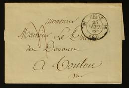 04 - Digne -  Lettre Des Douanes De Digne Taxe 4  Pour Les Douanes De Toulon - 1835 - 1801-1848: Voorlopers XIX