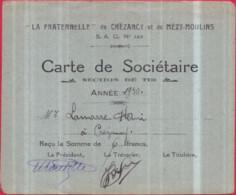 """Dépt 02 - """"LA FRATERNELLE"""" De CRÉZANCY Et MÉZY-MOULINS - Carte De Sociétaire Section De Tir - Année 1930 - Henri LAMARRE - Otros Municipios"""