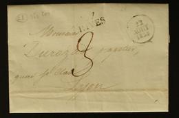 38 - Rives -  Lettre Des Papeteries De Rives Pour Lyon + Dateur A + Taxe Man 3 - 1830 - 1801-1848: Voorlopers XIX