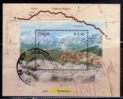 ITALIA REPUBBLICA ITALY REPUBLIC 2004 TRANSUMANZA ATTRAVERSO IL TRATTURO MAGNO BLOCCO FOGLIETTO BLOCK SHEET BLOC USATO - Blocks & Sheetlets