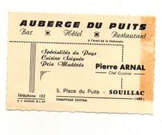 Carte De Visite Auberge Du Puits Pierre Arnal Chef Cuisinier à Souillac+ Plan D'accès Au Verso - Format : 12x8 Cm - Cartoncini Da Visita