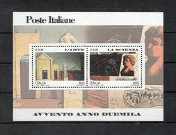 Italia - 2000 - Foglietto Avvento Anno 2000 - L'Arte E La Scienza - Nuovo ** - (FDC32077) - Blocks & Sheetlets