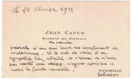 1931 JEAN CAPUS EXTERNE DES HOPITAUX MARSEILLE - Cartoncini Da Visita