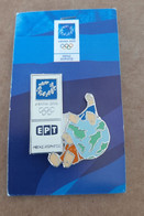 2004 Athens Olympic Games, Greek Tv ERT Media Pin. Mascots Phevos And Athena On Earth. EXTRA RARE!!! - Jeux Olympiques