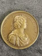 Médaille Bronze Louis XIV Paix Pyrénées France Espagne Concorde Pyrénées 1660 38 Mm 27 G - Royal / Of Nobility