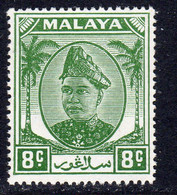 Malaya Selangor 1949-55 Sultan Alam Shah 8c Green Definitive, MNH, SG 97 (MS) - Selangor