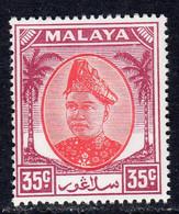 Malaya Selangor 1949-55 Sultan Alam Shah 35c Scarlet & Purple Definitive, MNH, SG 105 (MS) - Selangor