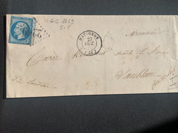 Pli 27/10/1863 20c Napoléon GC 2269 De Matignon Vers Loudeac - 1863-1870 Napoleon III With Laurels