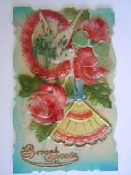 Cpa Fantaisie Carte Celluloid Ajouti éventail Fleurs Colombe En Plastique Relief épais Duif Waaier Dik Plastiek 1925 - Other