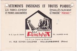"""Publicité - Carte De Visite : Revêtements,  Enseignes Et Toutes Plaques : Le """" PERENNIT """" : Fibro-Ciment : Villeurbanne - Cartoncini Da Visita"""