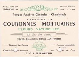 Publicité - Carte De Visite : Pompes Funèbres Générales : Couronnes Mortuaires - Fleurs Naturelles : Châtellerault - Cartoncini Da Visita