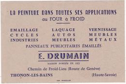 Publicité - Carte De Visite : E. DRUMAIN : Peinture - Laque - Vernissage - émaillage : Thonon Les Bains - Haute Savoie - Cartoncini Da Visita