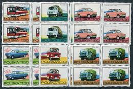 POLAND 1973 Motor Vehicles Blocks Of 4 MNH / ** Michel 2290-95 - Unused Stamps