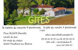 Carte De Visite - Chambres D'hôtes Et Gite 'La Maison Du Meunier' - Moulin Du Duc - Mouthiers Sur Boëme (16) - Cartoncini Da Visita