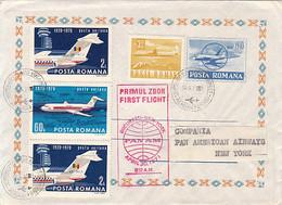 98827- BUCHAREST- NEW YORK FLIGHT, PANAM COMPANY, PLANES, TRANSPORT, COVER STATIONERY, 1971, ROMANIA - Airplanes
