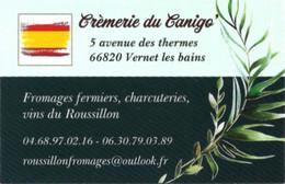 Carte De Visite - Crèmerie Du Canigò - Vernet-les-Bains (66) - Fromages Fermiers, Charcuterie, Vins Du Roussillon - Cartoncini Da Visita