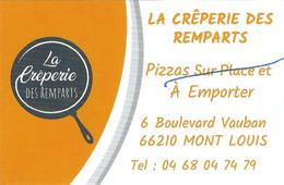 Carte De Visite - La Crêperie Des Remparts - Mont-Louis (66) - [2021 : Plus De Pizzas !] - Cartoncini Da Visita