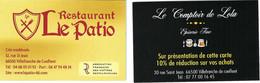 Carte De Visite - Restaurant Le Patio & Le Comptoir De Lola, épicerie Fine - Villefranche De Conflent (66) - Cartoncini Da Visita