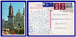 1974 Canada Postcard Victoria Statue QV Posted Vancouver To Scotland - Postal History
