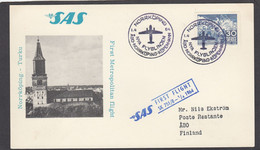 """SAS FIRST  FLIGHT """"NORRKÖPING-ABO"""" 1-4-64. - Airplanes"""