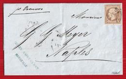 FRANCE 1864 - RARE LETTRE DE MARSEILLE POUR NAPLES AVEC N°23 CACHET NAPOLI - 1849-1876: Klassieke Periode