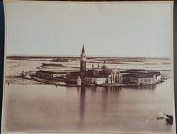 GRANDE PHOTOGRAPHIE ALBUMINE XIXe VENEZIA ILE SAN GIORGIO VENISE ITALIA ALBUMEN ITALIE 1870 - Lugares