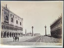 GRANDE PHOTOGRAPHIE ALBUMINE XIXe VENEZIA PIAZZETTA  SAN MARCO VENICE VENISE ITALIA ALBUMEN ITALIE 1870 - Lugares