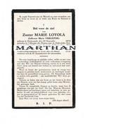 DOODSPRENTJE VERLIEFDE MARIE - ZUSTER MARIE LOYOLA OOSTERZELE GENT 1893 - 1930  APOSTOLINNEN - Devotion Images