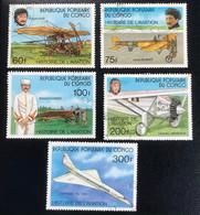 République Populaire Du Congo - C1/40 - (°)used - 1977 - Michel 593#597 - Luchtvaarthistorie - Cat € 2,80 - Airplanes