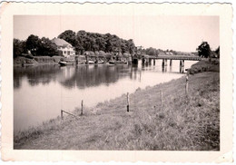 """Photo Originale Pont De Bois Et Péniche """" Döw Bruck Störbrücke Heiligenstedten 1938 """" Allemagne - Lugares"""