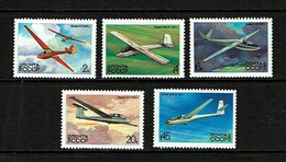 Russia 1983 Sc # 5118 / 5122  MNH **  Glider Airplanes - Airplanes