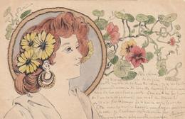 """Illustrateur """"Art Nouveau"""" - Carte Peinte à La Main - Auréole En Tissu Piquée Sur La Carte - Original ! - 1900-1949"""