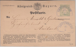 Bayern - Uffenheim 23/6 Blauer HKS 2 Kr. Ganzsache N. Ansbach - Bavaria