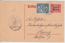 Bayern - 10 Pfg. Staatswappen/Freistaat Ganzsache+Zusatz München Pasing 19.5.20 - Bavaria