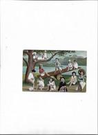 Carte Postale Ancienne Bébés Sur Des Pots Au Bord D'une Rivière - Babies