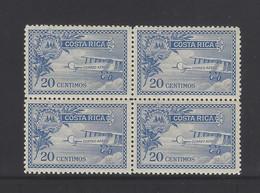 Costa Rica Airplane Sc C1 Block Of 4 MNH 1926 - Costa Rica
