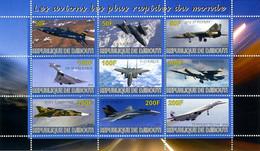 Djibouti 2010 Tupolev 144, F-14 Tomcat, F-111, Mig-31, F-15 Eagle, B-70 Valkyrie, Mig 25 Foxbat, SR71 Blackbird, X-15 - Airplanes