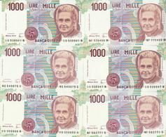 LOTTO 6 BANCONOTE MONTESSORI L.1000 UNC (VS855 - 1000 Liras