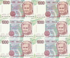 LOTTO 6 BANCONOTE MONTESSORI L.1000 UNC (VS856 - 1000 Liras