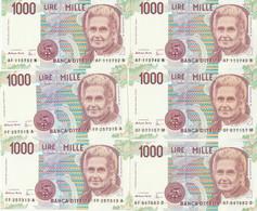LOTTO 6 BANCONOTE MONTESSORI L.1000 UNC (VS857 - 1000 Liras