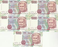 LOTTO 5 BANCONOTE MONTESSORI L.1000 UNC (VS858 - 1000 Liras