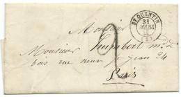 MARQUE POSTALE ST QUENTIN AISNE POUR PARIS  / TAXE 2 / LSC - 1849-1876: Klassieke Periode