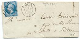 N° 14 BLEU NAPOLEON SUR LETTRE / JOSSELIN POUR CERISIERS / 5 FEV 1862 / PC 1585 IND 5 - 1849-1876: Klassieke Periode