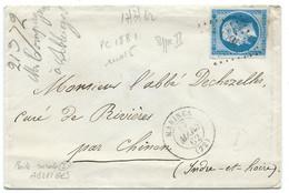 N° 14 BLEU NAPOLEON SUR LETTRE / MARINES POUR RIVIERES / 17 MARS 1862 / PC 1881 IND 5 / BOITE RURALE I ALBEIGES? - 1849-1876: Klassieke Periode