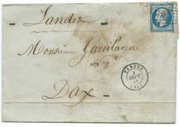 N° 14 BLEU NAPOLEON SUR LETTRE / TARBES POUR DAX / 4 SEPT 1861 - 1849-1876: Klassieke Periode