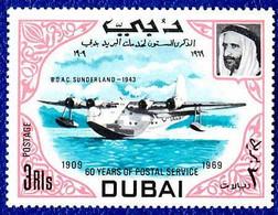 Dubai 1969 Postal Services Short S-25 Sunderland (YT 101f, St Gibbons 323) - Airplanes