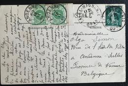 France Colonies 1912 De Lalla Maghnia Vers Andenne Belgique (1171) - Segnatasse
