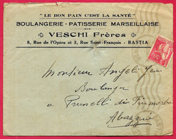 Lettre à En-tête Boulangerie VESCHI Frères BASTIA Pour Boulanger Jean Angeli PRUNELLI Di FIUMORBO Corse 20 2B - 1921-1960: Periodo Moderno