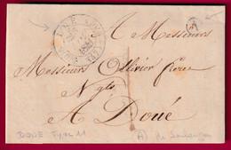CAD TYPE 11 DOUE MAINE ET LOIRE BOITE RURALE A MAIRIE DE SOULANGER TAXE LOCAL 1 POUR DOUE INDICE 12 - 1801-1848: Voorlopers XIX